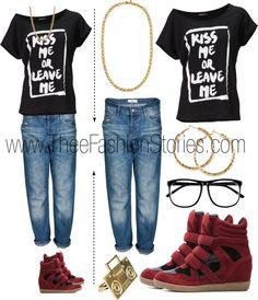 """Boyfriend Jean + Wedge Sneaker"" by jasmine-cooper on Polyvore"