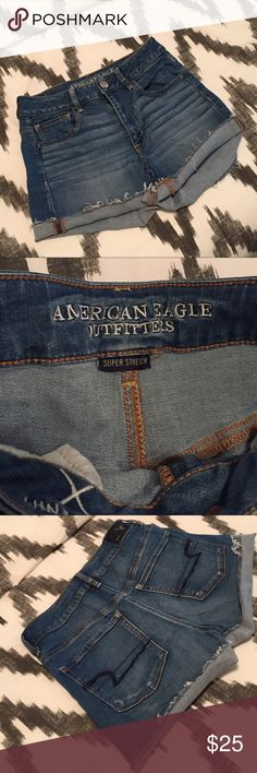 American eagle high rise shortie size 6 American eagle high rise shortie size 6. Only worn once great condition. American Eagle Outfitters Shorts Jean Shorts