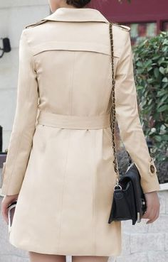 Women's Simple Tan Kakhi Trench Coat, classic double breasted