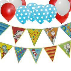 "1 Pennant Flag Banner 10 Double-sided Flags Each Flag measures 7.5"" x 8.5"" Great Party Decoration. 30 Latex Round Balloons 12"". 12 Red Latex. 12 White Latex. 6 Light Blue with White Dot Latex. Helium"
