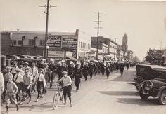 San Bernardino California Masonic parade laying the cornerstone at Sturges junior high school... A.L.5874 _ A.D.1874