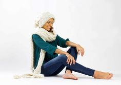 Strickschals - XL-Babyalpaka-Schal mit Kaschmir Grobstrick Zopf - ein Designerstück von amjasnet bei DaWanda