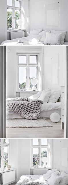 'Minimal Interior Design Inspiration' is a biweekly showcase of some of the most perfectly minimal interior design examples that we've found around the web - White Rooms, All White Bedroom, Bedroom Simple, White Walls, Master Bedroom, Airy Bedroom, Light Bedroom, Clean Bedroom, Comfy Bedroom