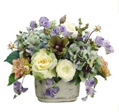 Blue Cream and Green Rose and Hydrangea Silk Floral Centerpiece-ARWF1218