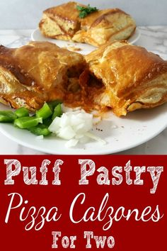 Cheesy Pizza Puff Pastry Calzones for two have mozzarella and pepperoni stuffed into buttery puff pastry and baked until gooey and molten with a crispy, golden crust. Add all of your favorite pizza toppings. Puff pastry is delicious and flaky. It has so many uses in sweet or savory dishes. This recipe makes a great game day lunch, dinner, or a fun and impressive date night meal for two. #pizzacalzones #pizza #puffpastry #recipesfortwo #dinnerfortwo #lunchfortwo via @ZonaCooks Puff Pastry Pizza, Puff Pastry Recipes, Puff Recipe, Pizza Sticks, Small Meals, Meals For Two, Mug Recipes, Cooking Recipes, Cooking Games