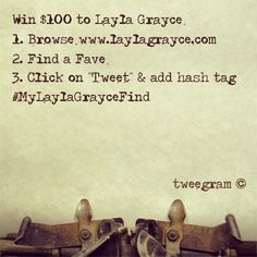 """Twitter Contest! Tweet your favorite Layla Grayce product for a chance to win $ 100!     1. Browse our site {www.laylagrayce.com}  2. Find a fave from Home & Bedding, Children, Women or all!  3. Click """"Tweet"""" directly from the product page & add hashtag #MyLaylaGrayceFind   5. Enter as many times as you like until May 2nd midnight! Just be sure to use the hashtag so we can track the entries.  6. Winner will be chosen at random May 3rd to receive a $ 100 gift certificate to LG!"""