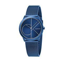 Γυναικείο quartz ελβετικό ρολόι Calvin Klein K3M52T5N Minimal με μπλε καντράν και μπλε επίχρυσο μπρασελέ σε στυλ ψάθας | Ρολόγια CK ΤΣΑΛΔΑΡΗΣ στο Χαλάνδρι #Calvin #Klein #Minimal #μπλε