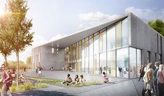 La nueva Escuela Vocacional de Herningsholm se afirma como un edificio independiente en un clúster de campus de edificios educativos.