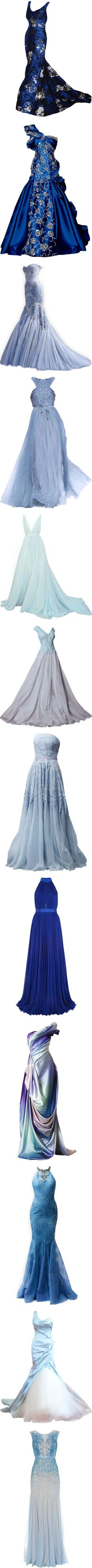 Blue Princess by kari-c on Polyvore featuring dresses, gown, blue, gowns, long dress, blue evening dress, long dresses, blue ball gown, long blue dress and blue gown
