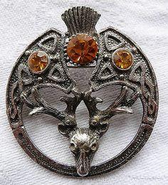 vintage signed Scottish thistle flower stag deer amber rhinestone brooch -AU69