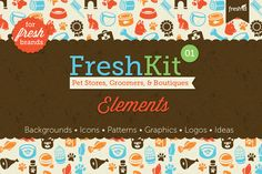 FreshKit 01 Pets Elements ~~ FreshKit 01 Elements for Pet Stores, Groomers, Boutiques and Vets is a brand identity kit containing graphic goodies for backgrounds, delicious grungy textures, wood patterned icon backdrops, logo ideas, images, repeating elements and pet-related icon sets…