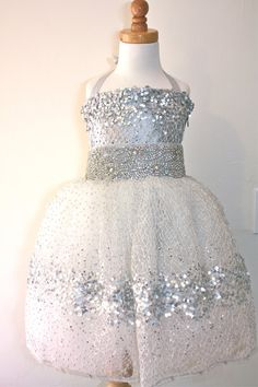 Sparkly dresses for girls in silver and gold tone