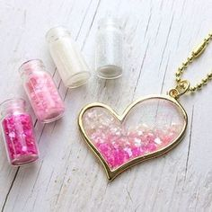 We have colorful shell grain sets available to use in resin and more #diy #diysupplies #handmadeaccessories #handmade #resin #pendant #pink #heart #handmadegifts #gold #necklace #shell #girly #kawaii #pastel #pastelgoth #resinart