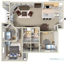 A three-bedroom, two-bath apartment home with 1,200 square feet of living space | Room Planner | 360 Degree View