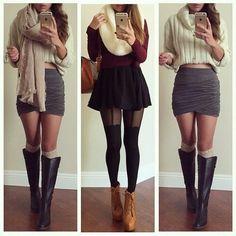 Autumn vibes... I'm digging the skirts! Super stylish, still classy