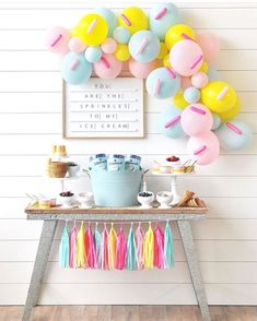 Happy Wish Company on Planning a summer birthday party All you need is this darling pastel sprinkles balloon garland and some Tillamook Birthday Cake Ice Baby Girl Birthday, Summer Birthday, Geek Birthday, 2nd Birthday, Balloon Birthday, Birthday Cakes, Donut Birthday Parties, Birthday Party Decorations, Birthday Ideas
