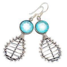 "Faceted Apatite 925 Sterling Silver Earrings 2"" EARR335310"