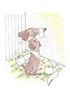 NEW Toilet Paper Dachshund Print by LongDogGeneral on Etsy, $16.00