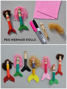 Peg Mermaid Dolls for kids to create