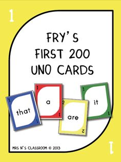 {FREE} Fry's 1st 200 Words - Uno Cards --- (I went ahead and printed the words on sticker paper, cut out, and put on Uno cards to avoid dealing with the printing and cutting of ALL those cards, and also so I could target words my kiddo struggles with specifically.  Quick and easy, but makes shuffling more challenging.)