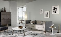 The right mix of grey tones make this contemporary living room just interesting enough.
