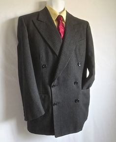 """MINT Vintage 1950's Man's Charcoal Grey Wool Pinstripe """"Botany 500"""" Zoot Suit Jacket - 37 Reg by delilahsdeluxe on Etsy"""