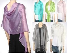 Shiny Evening Scarves Wraps - These Shiny Evening Scarves cum mini Wraps Elegance are classy perfect for prom, bridal,  bridesmaids wraps and parties. Buy these ladies fashion dressy evening wraps on sale and look amazing at an affordable sale price. $24.99