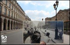 Rue de Rivoli, Près du Louvre. On tire des toits, sur la foule, et sur les américains près de la statue de Jeanne d'Arc ! Photo de Roger-Viollet, 25 Août 1944 - Golem13
