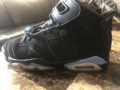 new product 25f72 27c71 Boys  Shoes · Nike Air Jordan 6 VI Retro BG Black Carolina Blue UNC OG  384665-006 Size