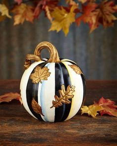 H8F30 MacKenzie-Childs Falling Leaves Small Pumpkin