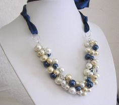 Bridesmaid Necklace Navy White Champagne and Ivory by SLDesignsHBJ