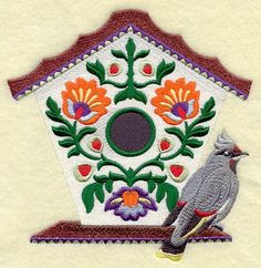 POLISH FOLK ART BIRDHOUSE WITH BOHEMIAN WAXWING - MACHINE EMBROIDERED QUILT BLOCKS