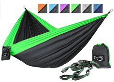 Double Outdoor Camping Hammocks - Weather Resistant Lightweight Parachute Nylon- Includes Stretch Resistant Tree Straps With 16 Loops Per Strap Making These Perfect for Travel *** Don't get left behind, see this great product : Hiking gear