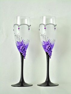 Lilac Wedding Champagne Glasses Toasting Flutes by JoliefleurDeco