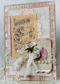 Sheila Rumney: Surprise Valentine's Card - shabby chic Valentine with Gypsy Moments Collection by 7gypsies #DIYValentine #handmadecard