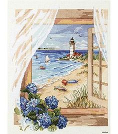 Add a breezy beach paradise touch to your home decor with 'A View From The Window' cross-stitch kit Counted cross stitch kit includes ivory cotton Aida cloth, cotton embroidery floss Cross Stitch Sea, Cross Stitch Needles, Counted Cross Stitch Kits, Cross Stitch Charts, Cross Stitch Designs, Cross Stitching, Cross Stitch Embroidery, Cross Stitch Landscape, Sewing Crafts