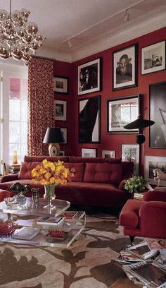 Madeline Weinrib Red Luce Ikat Curtains and custom Chime Tibetan Carpet at John Demsey's Manhattan townhouse, featured in Elle Decor October 2009.