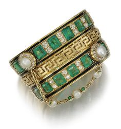 Emerald Bracelets Emerald, Enamel And Diamond Bangle Bracelet Mounted In Gold Sotheby's How many Emerald Bracelet, Emerald Jewelry, Diamond Bangle, Emerald Diamond, Diamond Brooch, Pearl Bracelet, Bracelet Set, Victorian Jewelry, Antique Jewelry