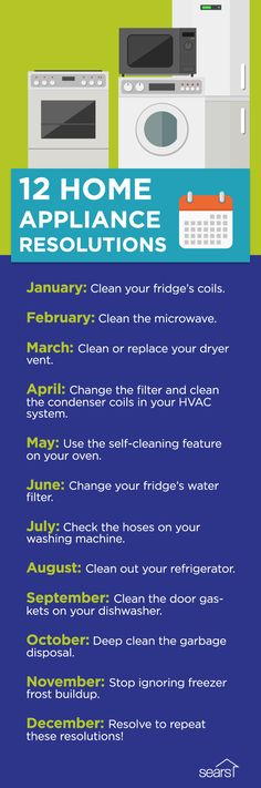 Resolve to get the most out of your appliances. Here are 12 appliance maintenance resolutions. Forget the new gym membership, the commitment to daily meditation or the promise to give up sugar. We're talking about maintaining some of the biggest expenses in your home: your appliances. With very little effort, you can help extend their lifespan and possibly reduce your energy bills—all with just one easy task per month. Visit the Sears Home Services blog to find out how.