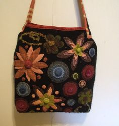 Sweater purse for Tina, wool applique & embellishment by Nancy Moore