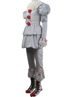 Unisex Stephen King's It 2017 film evil clown Pennywise cosplay halloween costume full set supervillain make-up carnival costume outfit toys gift