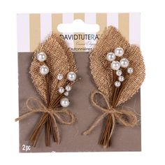 Amazon.com: 10 Burlap Pearl Wedding Prom Homecoming Boutonniere