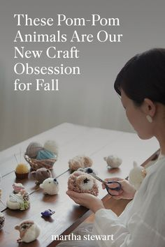 Japanese maker, Tsubasa Kuroda, or trikotri as she goes by online, shares how and why she started making these adorable pom-pom animals. Read her tips for creating your own pom-pom animals with her easy-to-follow pom-pom animal crafting book and her expert advice. #marthastewart #crafts #craftingessentials #hobby New Crafts, Fall Crafts, Pom Pom Animals, Knitting Patterns, Knitting Ideas, Gift Cake, Cool Kids, Activities For Kids, Needlework