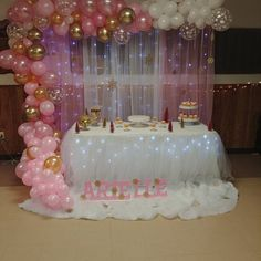 Baby shower party decorations babyshower decorating ideas 18 Ideas for 2019 Minnie Mouse First Birthday, Gold First Birthday, Girl Birthday, Birthday Parties, Birthday Ideas, Birthday Goals, Birthday Balloon Decorations, Princess Party Decorations, Girl Baby Shower Decorations