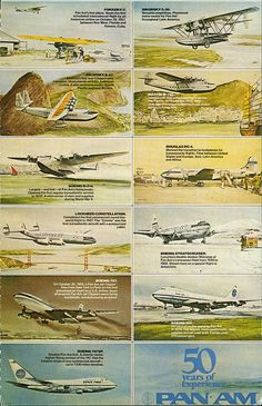 Pan Am postcard with visual summary of their first 50 years