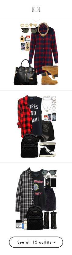 """""""[{...}]"""" by toranja ❤ liked on Polyvore featuring Harvey Faircloth, Timberland, Charlotte Russe, Ray-Ban, MICHAEL Michael Kors, Juicy Couture, adidas Originals, French Connection, Rails and Converse"""