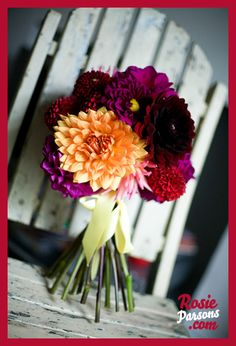 Dahlia bouquet is gorgeous if we can get lighter colors. Dahlias will be in season.        Bristol Wedding Florists Bella & Fifi - colourful wedding flowers!