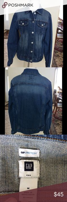 GAP stretch denim jacket ladies Med💕 Just like new condition! Subtle fading throughout. Some distressing on pockets and collar. Ladies medium. Shirt not included. Boots are for sale separately in my closet. GAP Jackets & Coats Jean Jackets