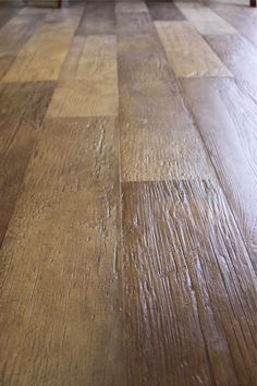 Porcelain tile floor that looks like wood. Pretty cool