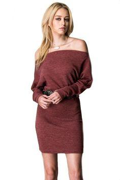 Tucson Off the Shoulder Sweater Dress - Burgundy